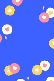 Vecteur de fond avec des icônes de médias sociaux mignons sur bleu