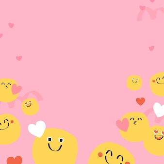 Vecteur de fond mignon d'emoji doodle avec signe de coeur