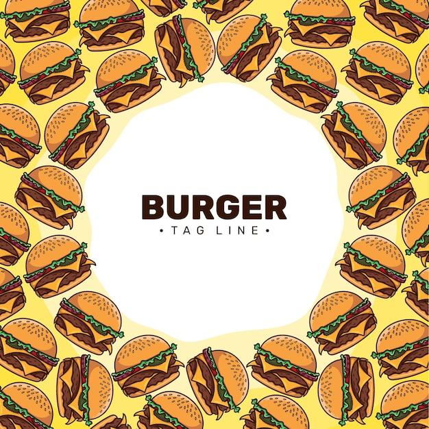Vecteur de fond de motif de dessin animé hamburger