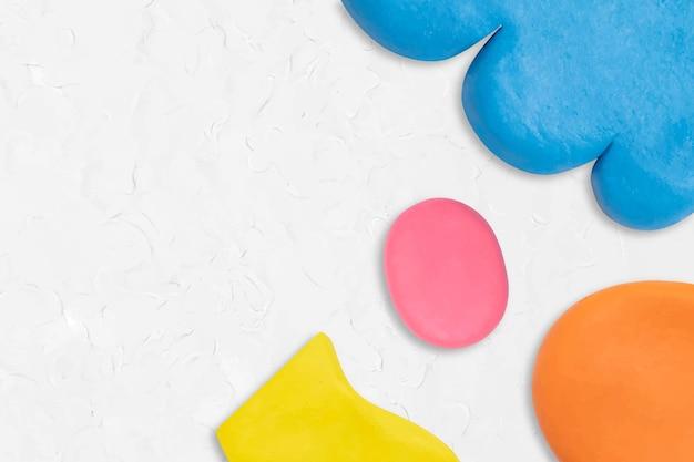 Vecteur de fond à motifs d'argile de pâte à modeler dans l'art créatif bricolage de bordure colorée blanche pour les enfants