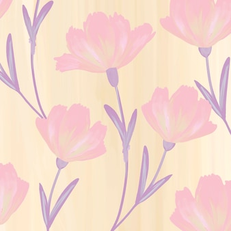 Vecteur de fond à motifs de fleurs de cosmos dessinés à la main