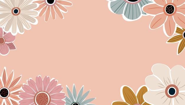 Vecteur de fond nature art abstrait. cadre de plantes à la mode. fleurs de couleur de fond de conception, beau jardin décoratif. feuilles botaniques et motif floral pour la bannière de vente d'été.