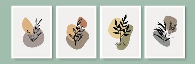 Vecteur de fond nature art abstrait. papier peint d'art de ligne de forme moderne. feuilles botaniques de feuillage bohème design de texture aquarelle pour la décoration intérieure, l'art mural, les publications sur les réseaux sociaux et l'arrière-plan de l'histoire