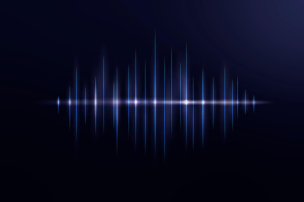 Vecteur de fond noir de technologie d'égaliseur de musique avec onde sonore numérique bleue