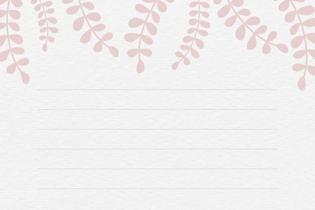 Vecteur de fond de note à motifs de feuilles roses