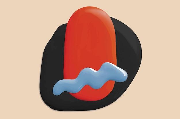 Vecteur de fond de peinture rouge liquide avec des éléments de forme créatifs colorés