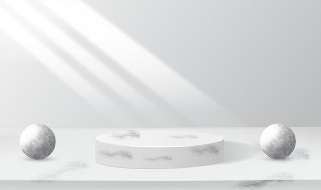 Vecteur de fond rendu gris 3d avec podium blanc et scène de mur blanc minimal rendu 3d