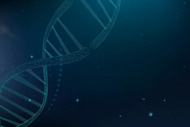 Vecteur de fond de science biotechnologie adn dans un style futuriste bleu avec un espace vide