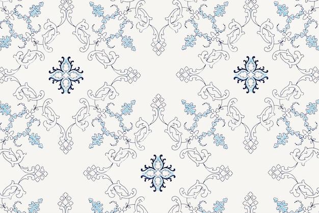 Vecteur de fond de style vintage bleu botanique