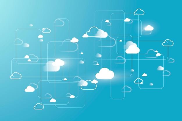 Vecteur de fond de système de réseau cloud pour la bannière de médias sociaux