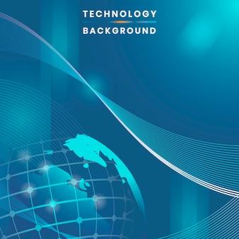 Vecteur de fond de technologie futuriste globe bleu
