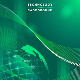 Vecteur de fond de technologie futuriste globe vert