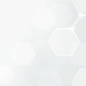 Vecteur de fond de technologie numérique avec motif hexagonal en ton blanc