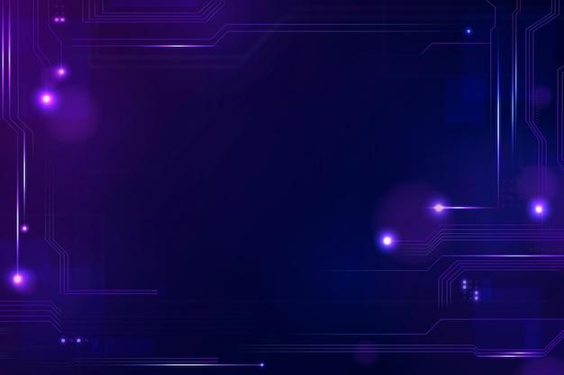 Vecteur de fond de technologie de réseautage futuriste dans le ton violet