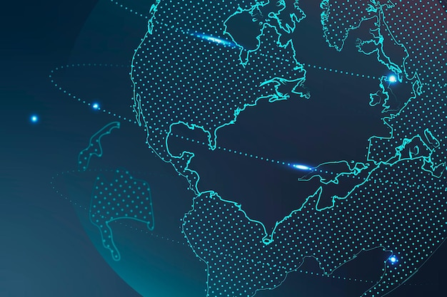 Vecteur de fond technologique avec réseau mondial dans le ton bleu