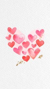 Vecteur de fond de téléphone aquarelle coeur rouge