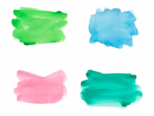 Vecteur de fond de trait de peinture aquarelle bleu vert jaune et rose