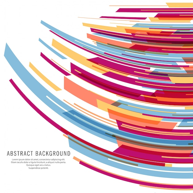 Vecteur de fond de vagues modernes lignes colorées