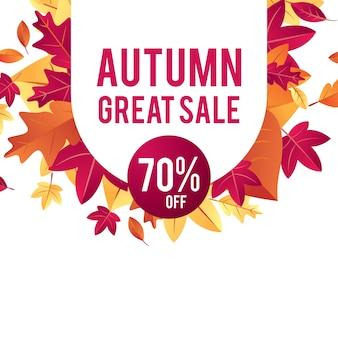Vecteur de fond vente automne avec des feuilles