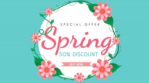 Vecteur de fond de vente de printemps avec des fleurs