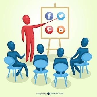 Vecteur de formation de marketing des médias sociaux