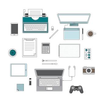 Vecteur de fournitures de bureau