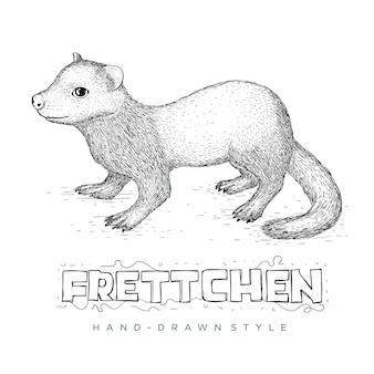 Le vecteur frettchen semble réaliste. illustration animale dessinée à la main