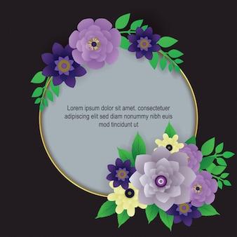 Vecteur de frontière belle fleur fond
