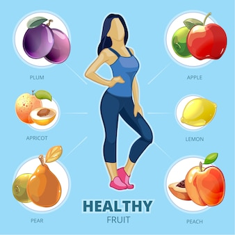 Vecteur de fruits sains. fille de mode de vie, figure femme, citron pêche poire abricot prune