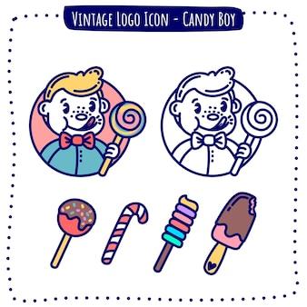 Vecteur de garçon de bonbons icône logo vintage