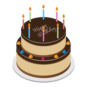 Vecteur de gâteau en couches joyeux anniversaire