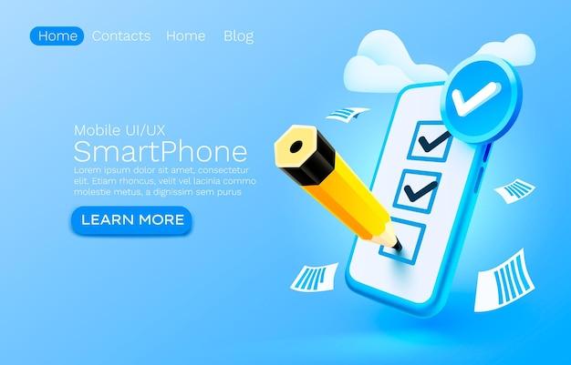 Vecteur de gestion d'approbation de service de liste de contrôle de document de confirmation mobile