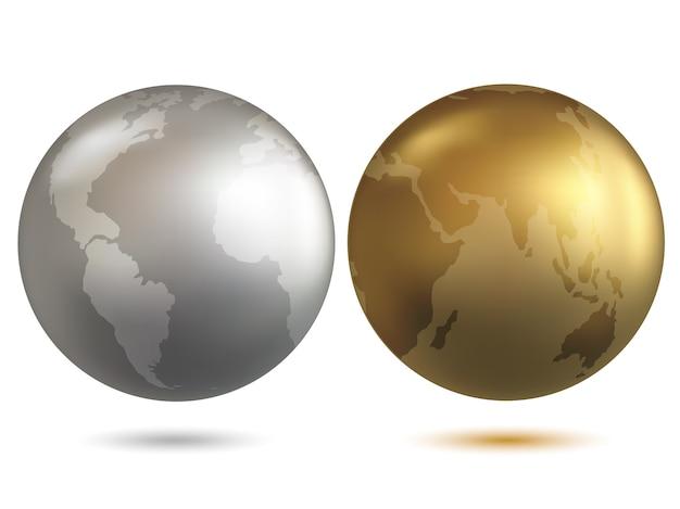 Vecteur de globe globe or et chrome
