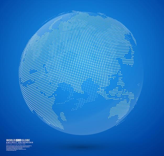 Vecteur de globe en pointillé abstrait bleu