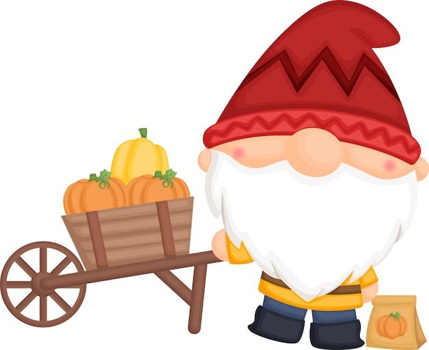 Un vecteur de gnome avec son chariot de citrouille