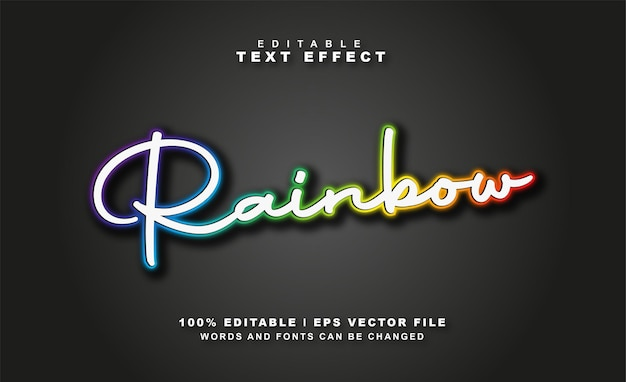 Vecteur gratuit d'effet de texte arc-en-ciel