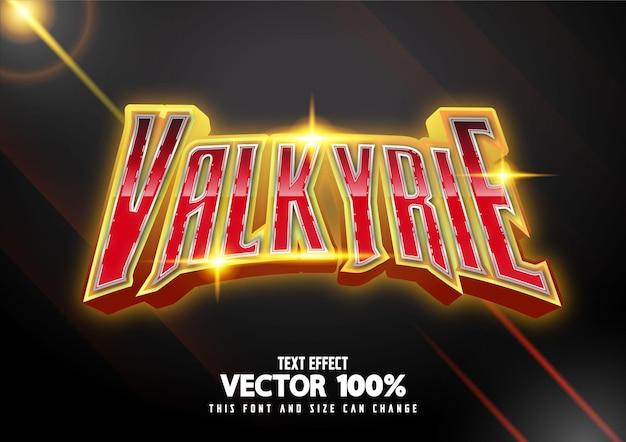Vecteur gratuit d'effet de texte valkyrie glow