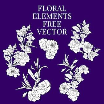 Vecteur gratuit éléments floraux