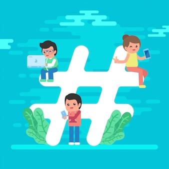 Vecteur gratuit: jeunes gens hashtag concept background