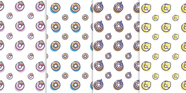 Vecteur gratuit : mignon petit beignet icône dessert modèle sans couture vecteur donut boulangerie savoureux et sucré