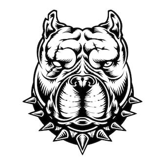 Vecteur gratuit : tête de pitbull noir et blanc