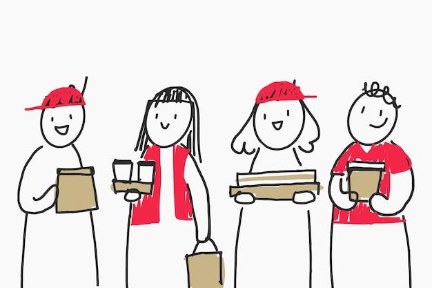 Vecteur de griffonnage de livraison de nourriture avec des emballages respectueux de l'environnement