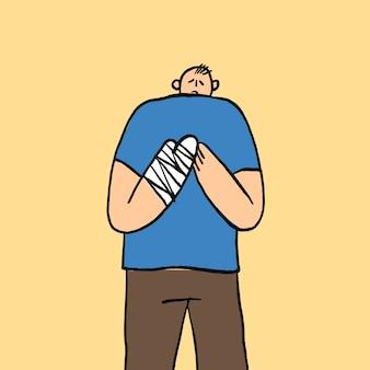 Vecteur de griffonnage de soins de santé dessiné à la main, homme avec la main dans le personnage de fonte