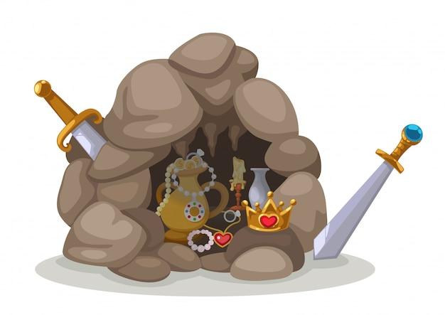 Vecteur de la grotte au trésor