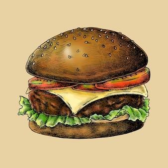 Vecteur de hamburger au fromage dessiné à la main