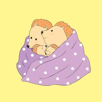 Vecteur de hérissons de famille automne de dessin animé mignon.