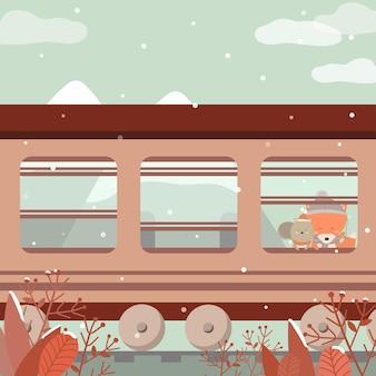 Vecteur de l'hiver dernier avec un chien et un renard assis dans le train