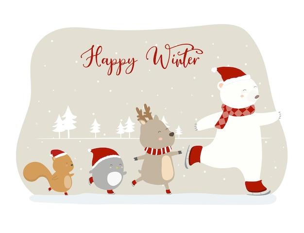 Vecteur de l'hiver final avec lion, renard, chat et lion