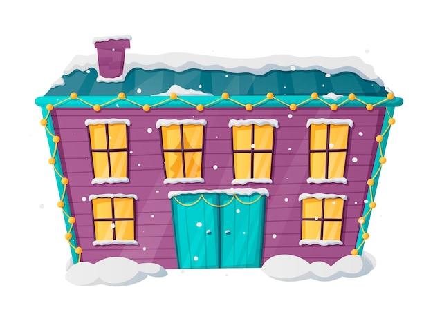 Vecteur d'hiver isolé illustration de noël de la maison de dessin animé avec de la neige et de la lumière dans les fenêtres.
