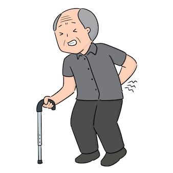 Vecteur d'un homme âgé a mal au dos